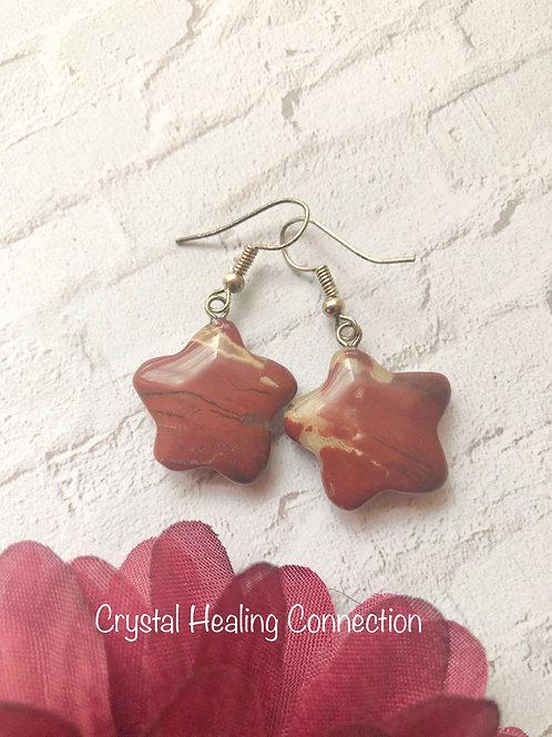 Red Jasper Star Earrings