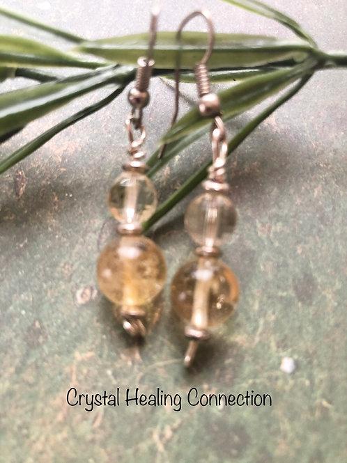 Citrine 2 Bead Earrings
