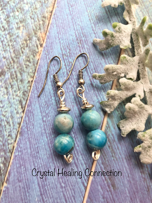 Blue Apatite Beaded Earrings