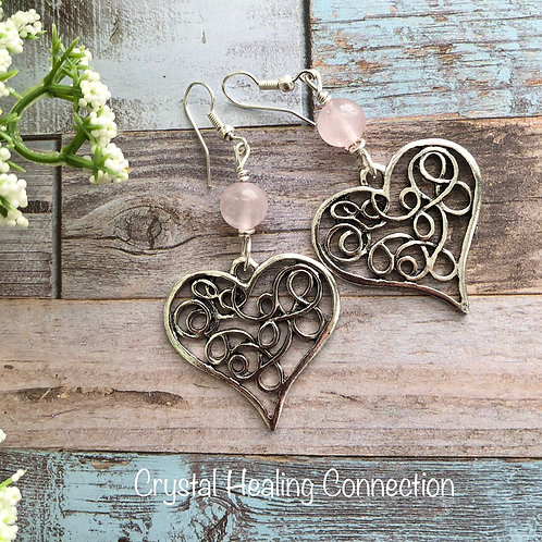Rose Quartz Filagree Heart Earrings