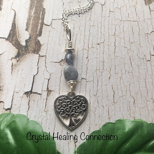 Tanzanite Heart Tree of Life Necklace