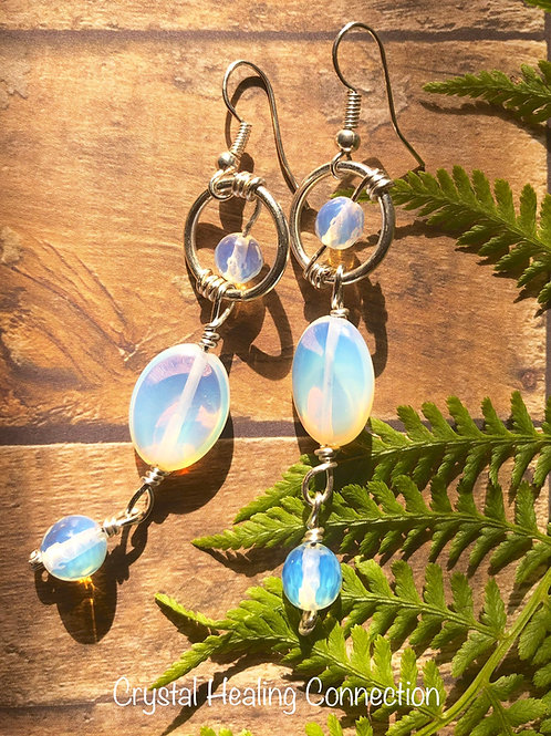 Opalite Wire Wrapped , Hammered Earrings