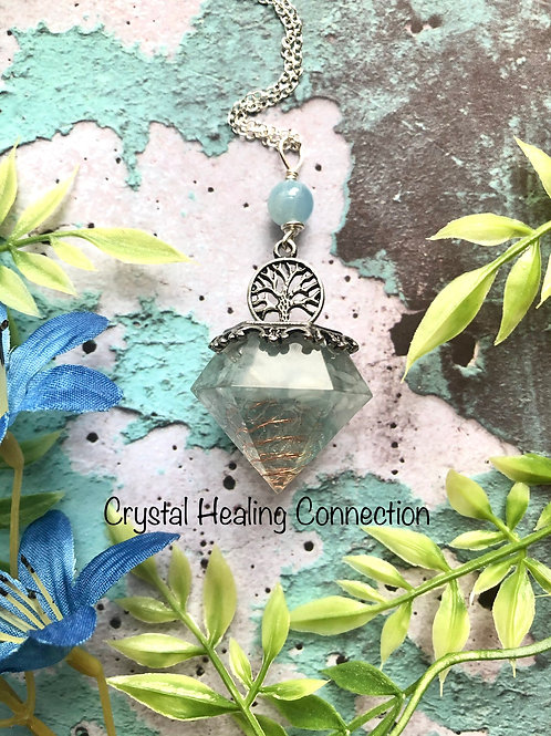 Aquamarine Tree Of Life Orgonite Pendulum Necklace