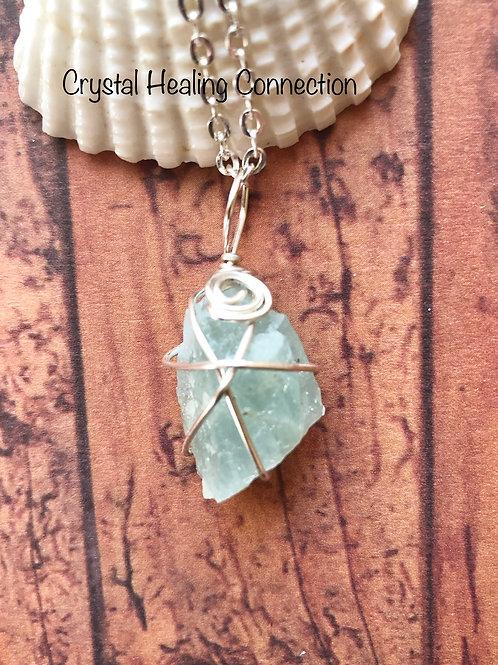 Tiny Aquamarine Wire Wrapped Necklace