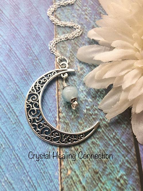 Aquamarine Moon Necklace