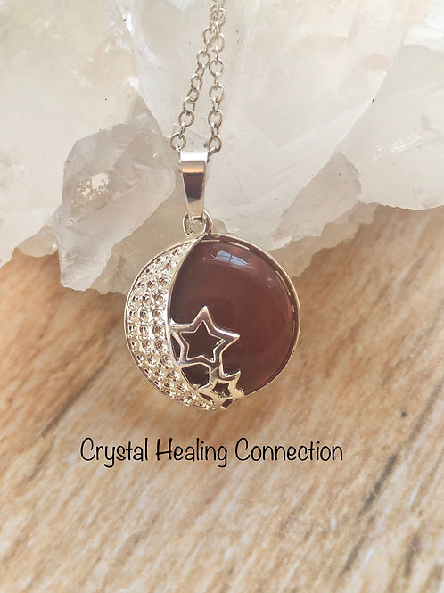 Carnelian Moon and Stars Necklace