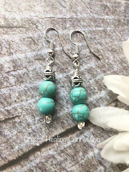 Blue Howlite 2 bead Earrings