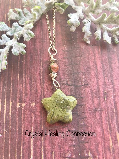 Unakite Beaded star Necklace