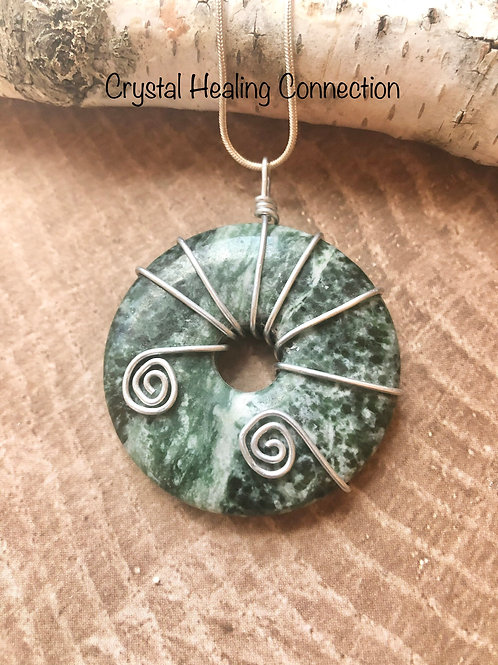 Wire Wrapped Tree Agate Pi Stone Necklace