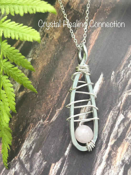 Rose Quartz Wire Wrapped Hammered Necklace