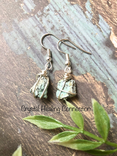 Natural Raw Turquoise Wire Wrapped Earrings