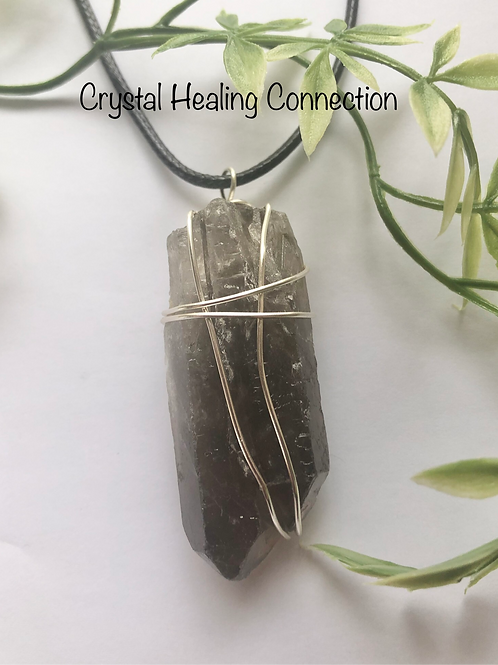 Smokey Quartz Natural Wire Wrapped Point Necklace