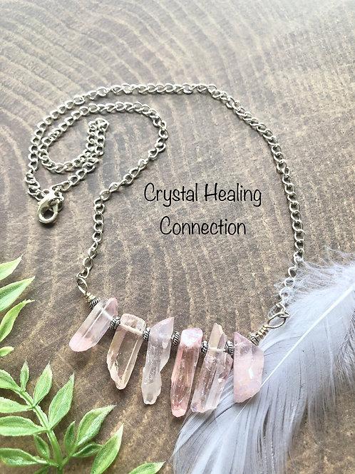Pink Angel Aura Quartz 6 Point Necklace