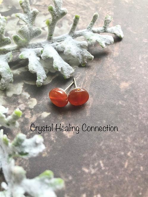 Carnelian Round Stud Earrings