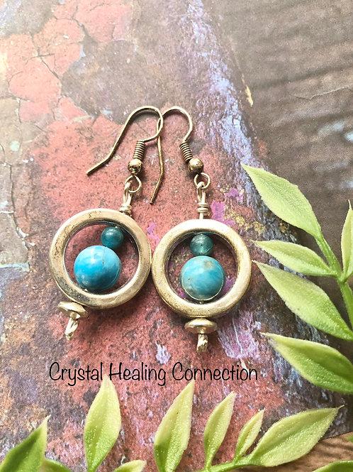 Blue Apatite Beaded Loop Earrings