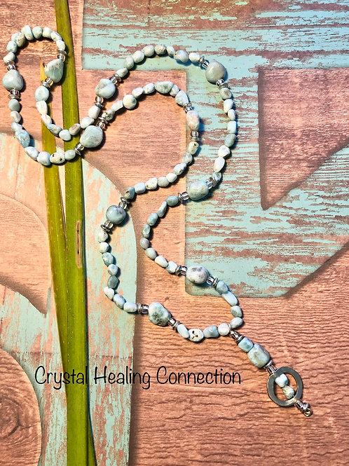 Larimar Long Beaded Necklace