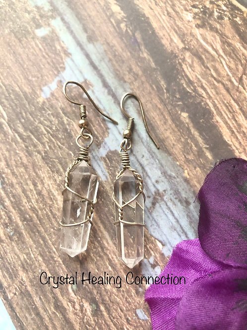 Clear Quartz Wire Wrapped Point Earrings