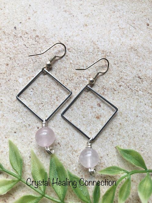Rose Quartz Hollow Diamond Earrings