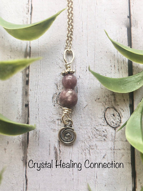 Lepidolite Tiny Swirl Necklace