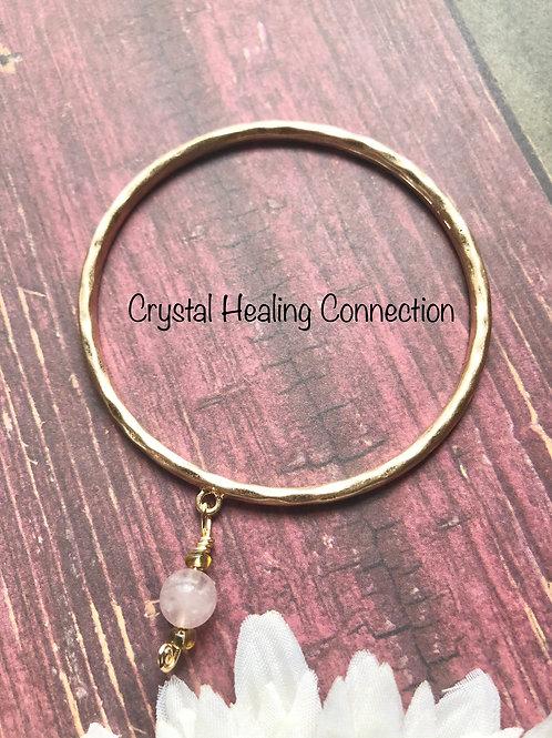 Rose Quartz Gold Bangle Bracelet