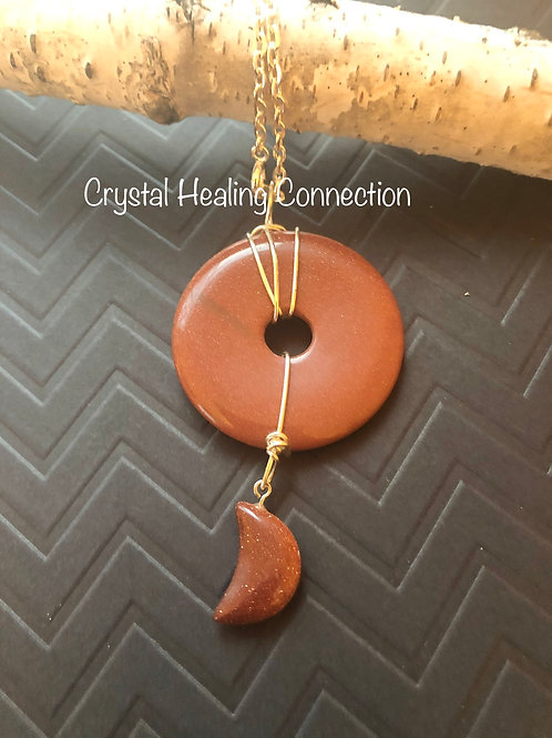 Wire Wrapped Goldstone Pi Moon Necklace