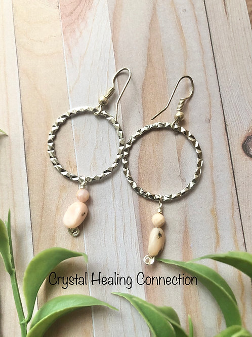 Pink Opal Loop Earrings