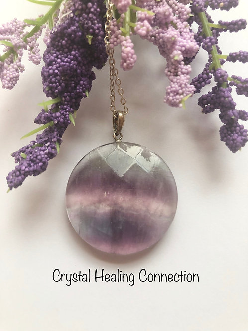 Fluorite Faceted Circle Necklace