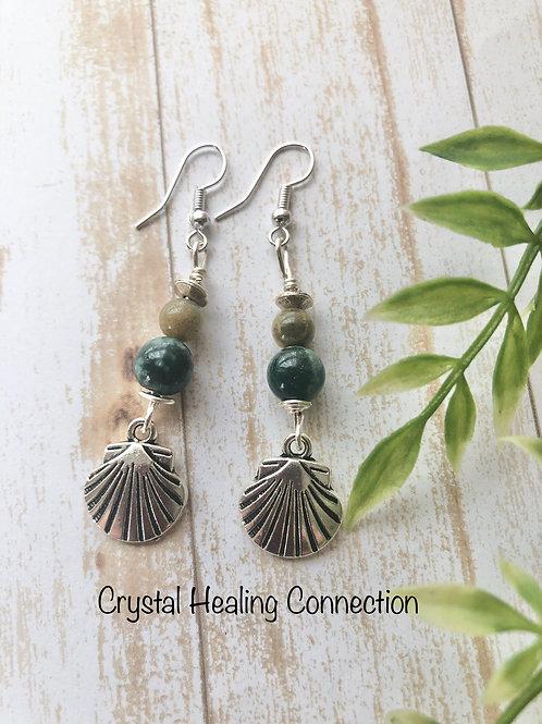Ocean Jasper Shell Earrings