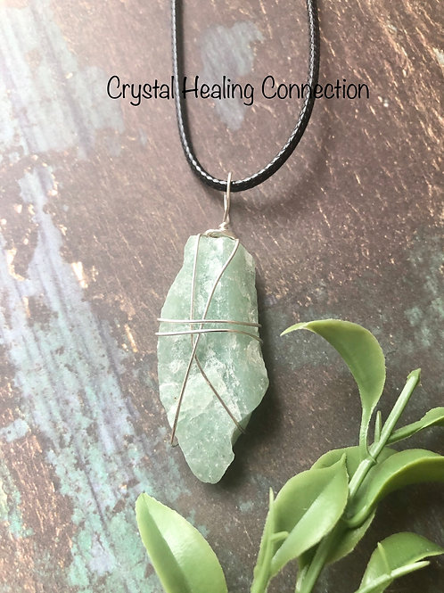 Green Aventurine Rough Wire Wrapped necklace