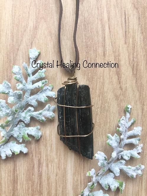 Bronzite Wire Wrapped Black Tourmaline Necklace