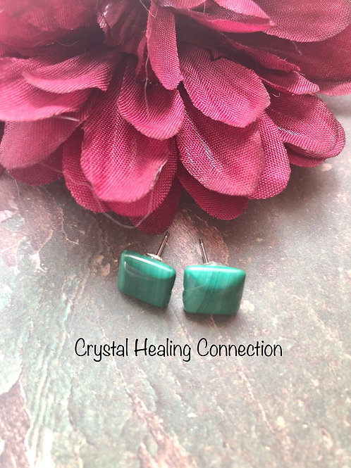 Malachite Square Stud Earrings