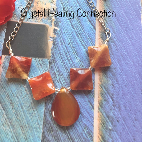 Carnelian Pinched Square Necklace