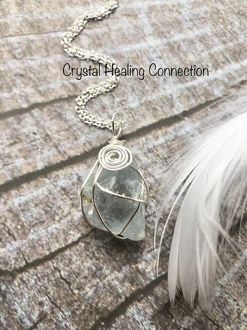 Wire Wrapped Celestite Necklace