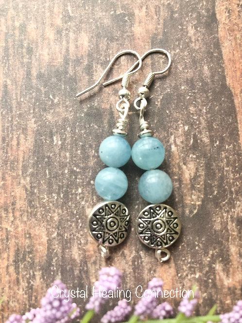 Aquamarine Sun Earrings