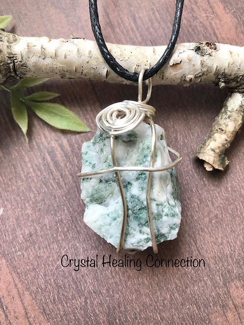 Wire Wrapped Natural Tree Agate Necklace