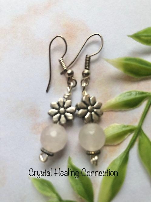 Rose Quartz Flower Earrings