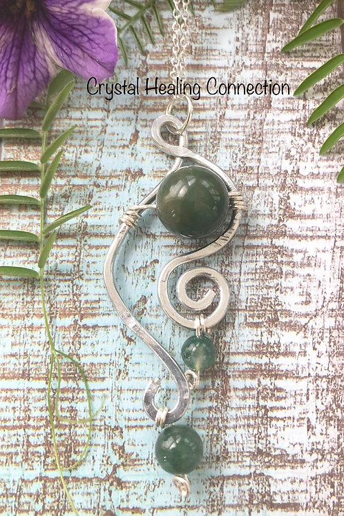 Moss Agate Wire Wrapped Hammered Necklace