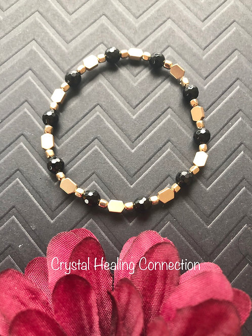 Black Onyx Gold Beaded Bracelet size 7 inches