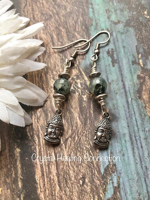 Prehnite w/Epidote Buddha Earrings