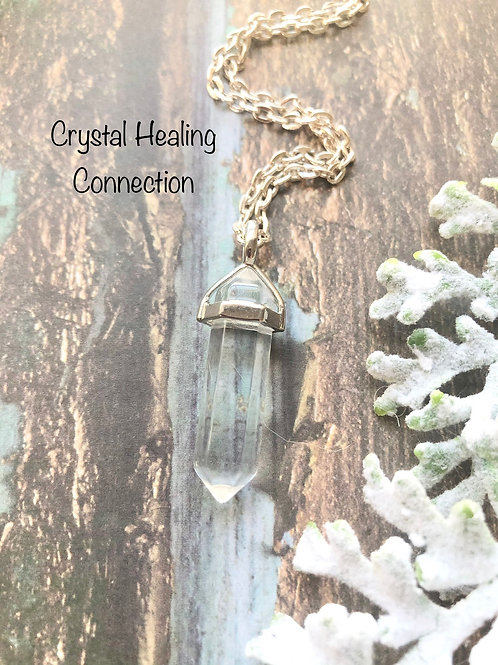 Clear Quartz Simple Point Necklace