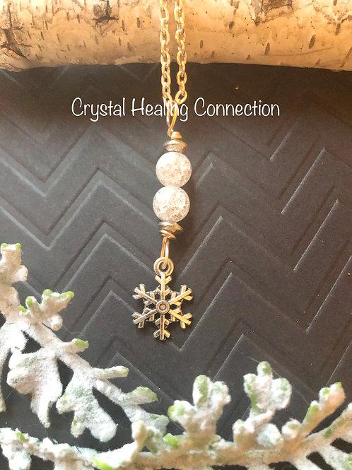 Crackle Quartz Snowflake Necklace