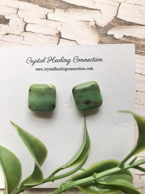 Chrysoprase Square Stud Earrings