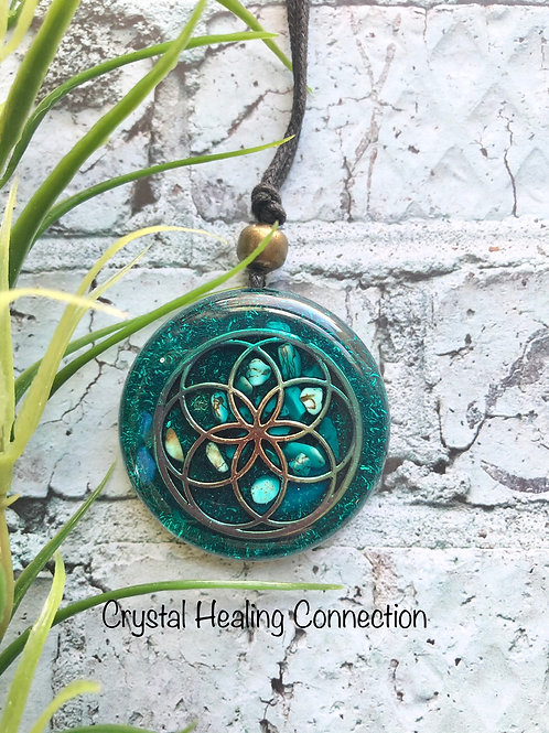 Teal Flower of Life Orgonite Necklace