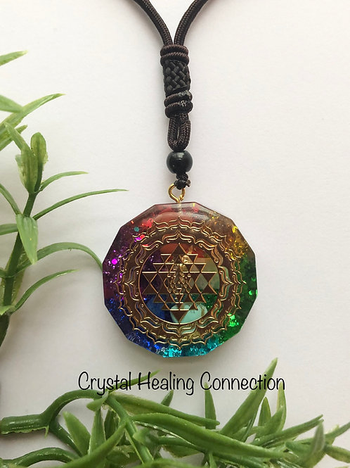 Chakra Orgonite Sri Yantra Necklace