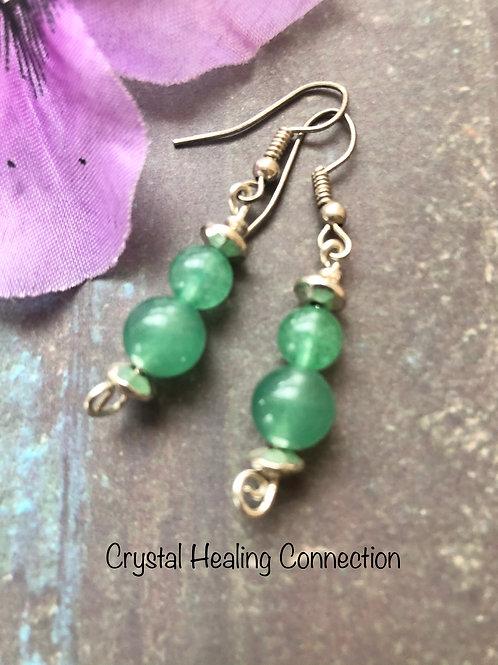 Green Aventurine 2 Bead Earrings