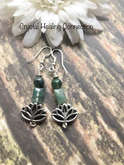 Moss Agate Lotus Earrings