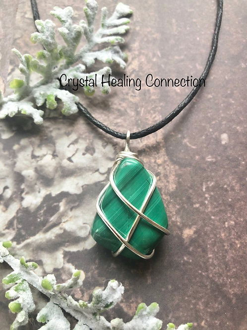 Malachite Wire Wrapped Necklaces