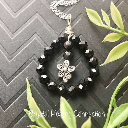 Spinel Wire Wrapped Flower Necklace