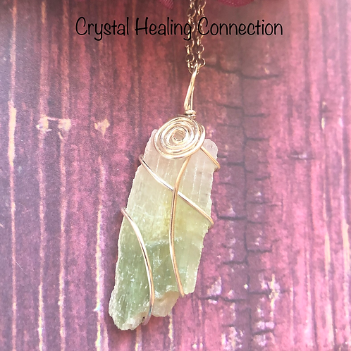 Wire Wrapped Hiddenite Necklace