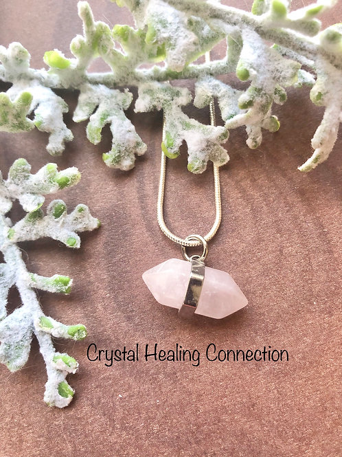 Rose Quartz Sideways Mini Point Necklace